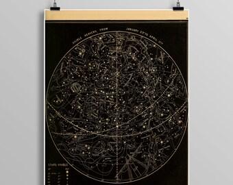 Vintage stars/heavens print,  astronomy print, zodiac, constellations, Celestial Maps, Telescope, Planets, Astronomy Illustration, 473