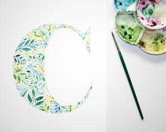 Initial Art Monogram, Letter C Decor, Botanical Giclee, Watercolour Print, Handpainted, Watercolour Letter, Giclee Monogram, Nursery Initial