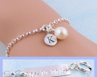 Bridesmaid Bracelet, Date Stamped Bracelet, Freshwater Pearl Bracelet, Wedding Date Bracelet, Custom Date Jewelry, Bridesmaid Pearl Jewelry