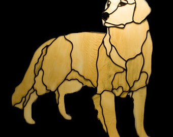 Stained glass golden Tiffany glass window suncatcher. Dog stained glass window decoration.