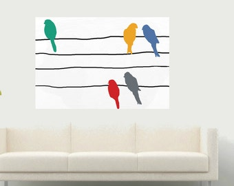 colorful Birds on wire Large modern minimalist Art Hand painting on canvas Contemporary original black and white painting  Home decor