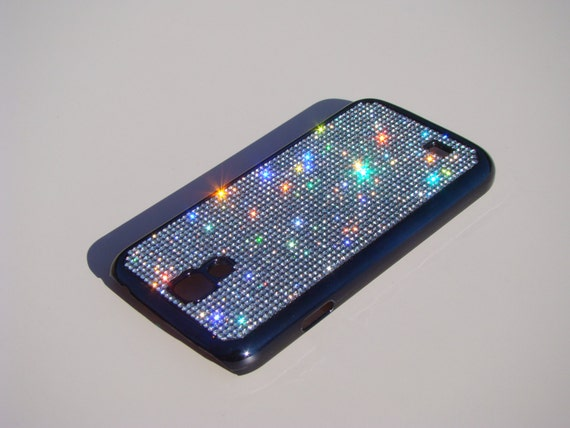 Galaxy S4 Clear Diamond Crystals on Black Chrome Electro Plated Plastic Case. Velvet/Silk Pouch Bag Included, Genuine Rangsee Crystal Cases.