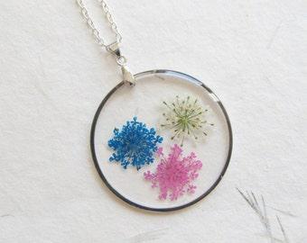 Real flower necklace, flower necklace, flower jewelry, botanical necklace