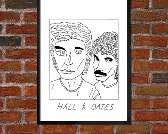 Badly Drawn Hall & Oates - Poster - *** BUY 4, GET A 5th FREE***