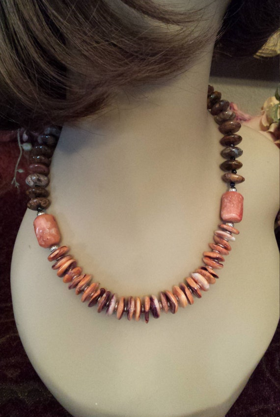 One strand beaded necklace made with rondels brownish green jasper, coral with spiny oyster