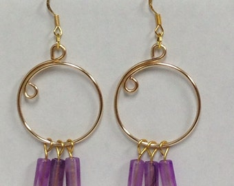 Purple and Gold Open Hoop Earrings