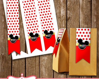 Mickey Mouse Treat Bag Tags Birthday Party Printables LL-0005-08
