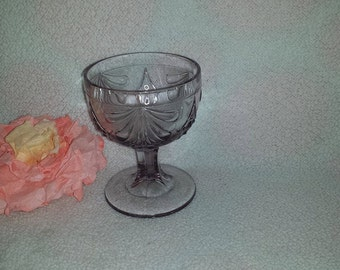 Vintage Lilac Compote, Goblet, Wine Glass, Stemware, Sundae Dish, Candy Dish, Trinket Dish, Pedestal, Purple, Amethyst, Lilac, Lavender