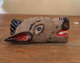 Vintage small mask of donkey, made of wood in Mexico, one of a kind