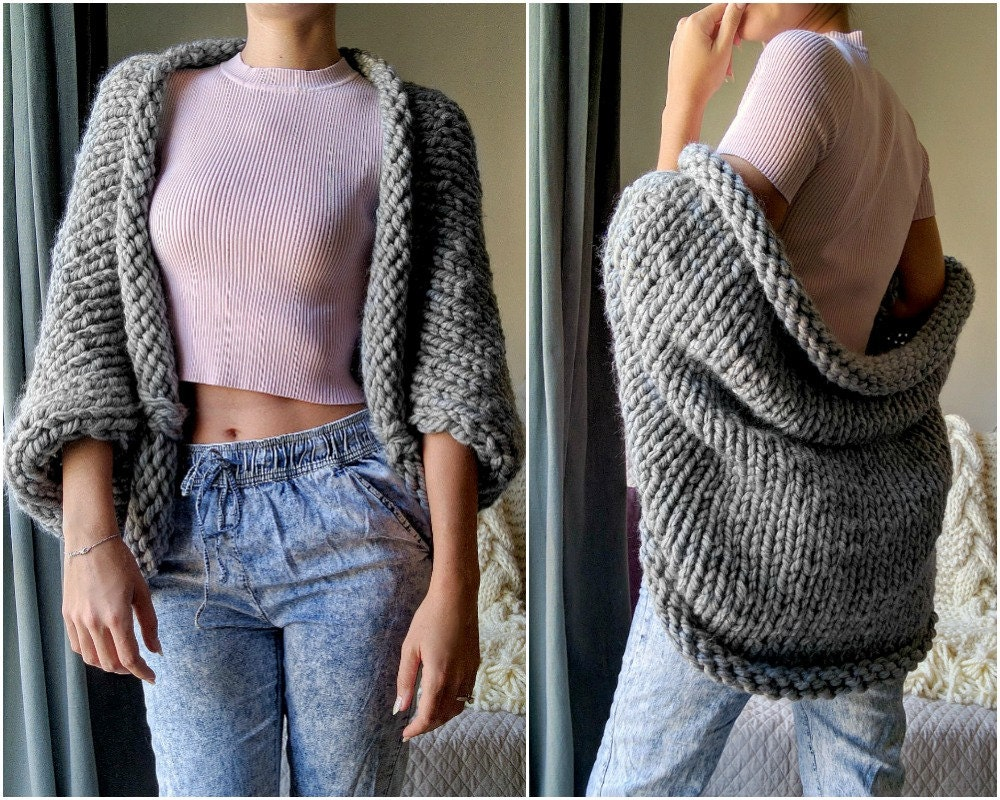 Chunky Knit Cardigan Knitted Oversized Sweater Gray Knit