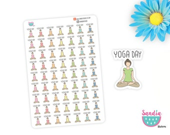 329)- Yoga Planner Stickers, Yoga Day Stickers, Planner Stickers, Erin Condren, Plum Paper, Limelife