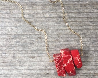 Petite Red Jaspar Spike Necklace - Spike Necklace - Red Spike Necklace - Gift for her - Spike Necklace - Unique Gift - Red Necklace