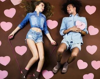Pink Brown love socks set, wedding socks, valentine's socks, Cupid socks. Free  worldwide delivery