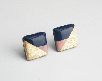 Square Navy Earrings, Pink and Navy Stud Earrings, Navy Bridesmaid Jewelry, hypoallergenic Titanium earrings, Color Block Navy blue studs
