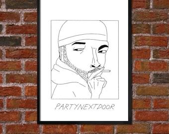 Badly Drawn PARTYNEXTDOOR - Hip Hop Poster
