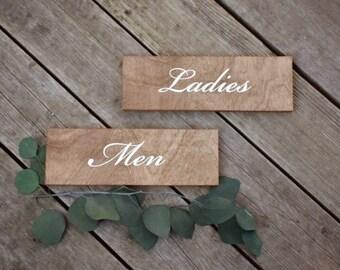 Restroom Signs - Ladies Men - Formal Font - Wooden Wedding Signs - Wood