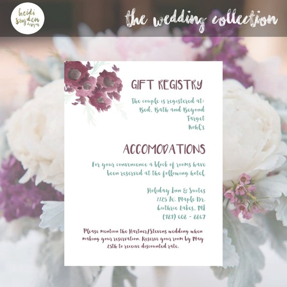 Unique Wedding Gifts Not On Registry : Personalized Wedding Gift Registry Cards Accommodations Wedding ...