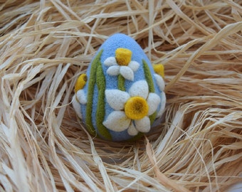 Needle Felted Eggs Easter Decorations Easter Gift Needle Felted Egg Felt Blue Ornament Daffodils
