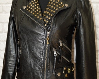 HALF PRICE! Customised punk jacket - faux leather punk jacket - punk jacket - spiked punk jacket - Biker jacket - UK size 8