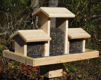 Cedar Bird Feeder, Triple Bird Feeder,Huge Bird Feeder,Large Cedar Bird Feeder