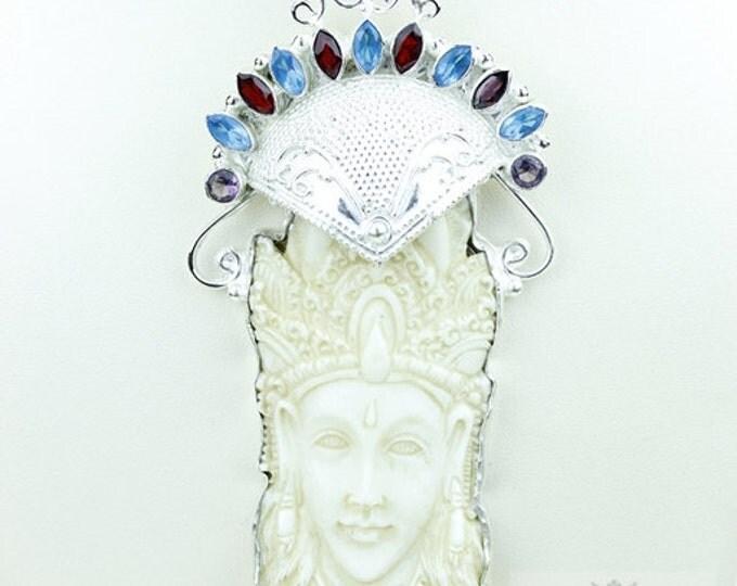 Hindu Lord Krishna DEER ANTLER TOTEM Goddess Face Moon Face Bone Carving 925 S0LID Sterling Silver Pendant + 4MM Chain p3822