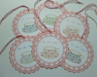 Tea cup tags tea party favor tags china tea cups pink rosebuds chintz tea cups it's tea time pink blue mint green - set of 6