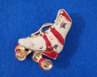 Vintage White Red Gold Stars Roller Derby Skate Brooch