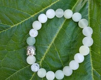 Natural matte mountain jade inspirational bracelets