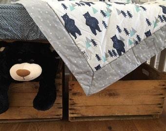Baby crib bedding blanket fitted sheet set boy girl gender neutral nursery transition bed