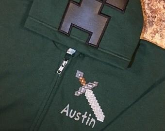 Minecraft Inspired Hoodie Zip Jacket -Kids thru Adult Sizes- Creeper, Enderman, Steve, Pig
