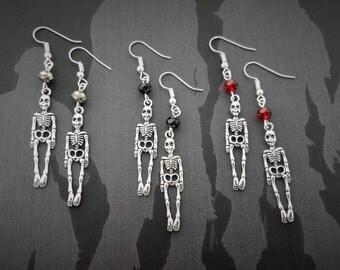 Skeleton Earrings, Halloween Earrings, Gothic Jewellery, Crystal Jewelry, Spooky Earrings, Dangle Earrings, Skeleton Costume, Undead Jewelry