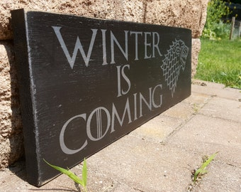 Winter is Coming, Game Of Thrones, Direwolf, Hand Painted, Wood SIgn