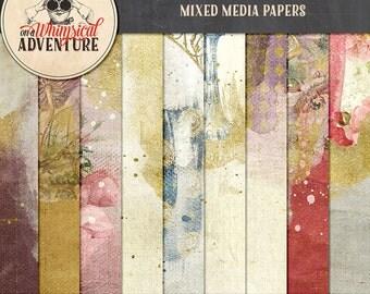 Alice In Wonderland digital scrapbook papers, digital download, 12x12 printable papers, mixed media papers, vintage ephemera Wonderland