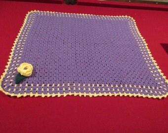 Crochet purple and yellow baby blanket
