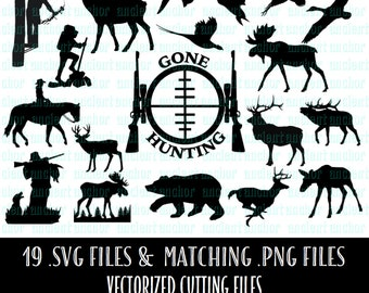 Wildlife SVG Cutting Files - 19 files with matching PNG files - Gone Hunting Package