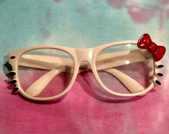 White Hello Kitty Glasses with Red Bow