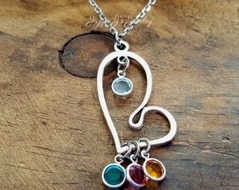 Family Birthstone Necklace, Birthstone Pendant, Heart Pendant with Birthstones, Grandmother Necklace, Mother Necklace, Gift for Her
