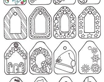 Christmas Coloring Gift Tags Printable Adult Page
