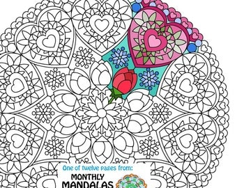 mandala coloring page valentines day printable february coloring page adult coloring pages - Christmas Mandalas Coloring Book