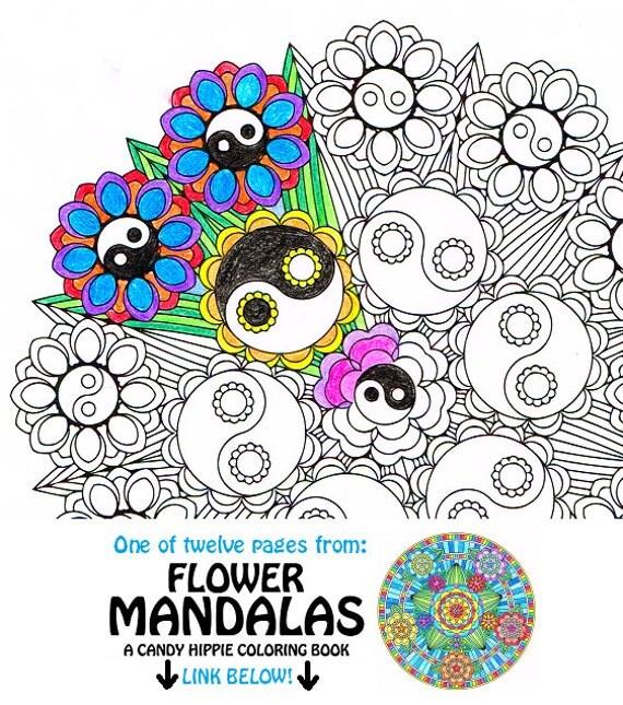 mandala adult coloring page yin yang bouquet
