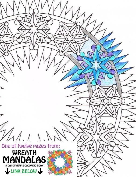 mandala coloring page ice wreath printable winter wreath. Black Bedroom Furniture Sets. Home Design Ideas