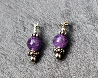 Amethyst Charms Dangles, Earring Components,  SET OF 2 or 3. Sterling Silver