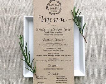 Custom Holiday Table Menu, Individual Menu Design, Wedding Table Menu, Shower Table Menu