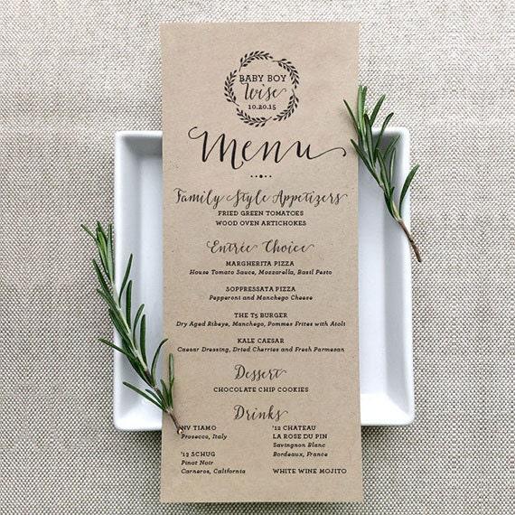 custom table menu individual menu design wedding table menu. Black Bedroom Furniture Sets. Home Design Ideas