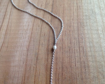 Pearl and Bauble: Simple and Sweet Y-Necklace with Baby Freshwater Pearl and Silver Bead