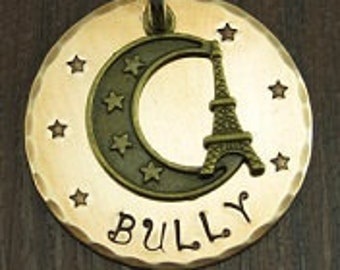 Dog tag, Dog ID tag, Dogs name tag, Dog tags for dogs, Personalized pet tag, Pet tag, Pet ID tag, (Eiffel Tower tag 1.25 inch)