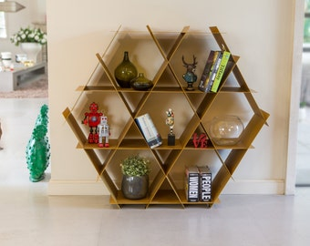 Gold Large Geometric Shelf, Honeycomb Bookcase, Shoe Storage, Media Center,  Hexagon Bookcase