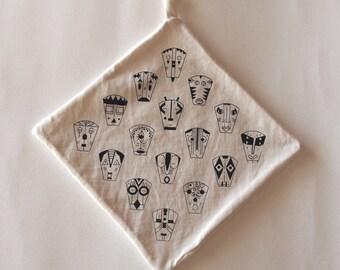 Doudou square unbleached organic cotton silkscreened handmade