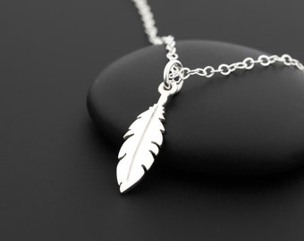 Tiny Feather Necklace, Sterling Silver Feather Necklace, Dainty Feather Necklace, Feather Necklace Silver, Feather Jewelry, Feather Charm