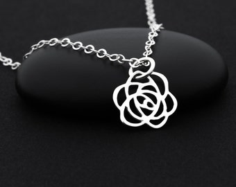 Rose Charm Necklace, Rose Flower Necklace, Sterling Silver Flower Necklace, Rose Jewelry, Rose Necklace, Flower Charm Necklace